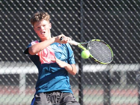 Bronxville's Liam Krall competes boys tennis finals