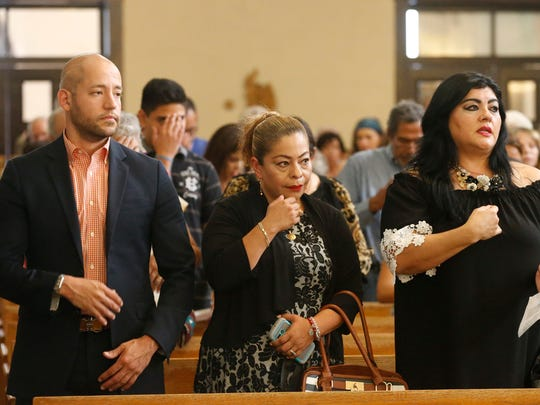 Officials from the Guatamalan Consul's office in Del Rio, Texas attended the memorial mass given by El Paso Bishop Mark J. Seitz, Friday afternoon at Sacred Heart Church, in South El Paso for the five migrant drowning victims that lost their lives attempting to cross the Rio Grande from Juarez, Mexico into the U. S. this past week. Over 200 persons attended the mass.