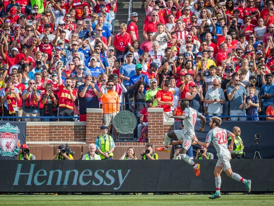 Liverpool's Sadio Mane celebrates a goal against Manchester United in the International Champions Cup at Michigan Stadium.