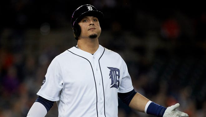 Jun 6, 2017; Detroit, MI, USA; Tigers designated hitter Victor Martinez reacts after flying out in the eighth inning against the Angels at Comerica Park.
