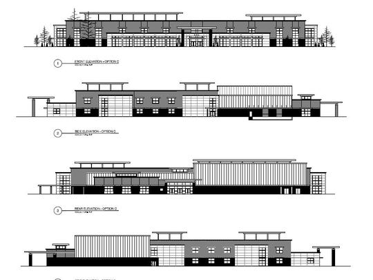 The front and side elevations of the Burns middle school. This the most recent design, revealed in late March.