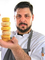 Cerulean pastry chef Peter Schmutte shows off vanilla bean and ginger-lemon macarons. Schmutte leaves Cerulean this year to take the pastry chef position at Beholder, a dinner restaurant Milktooth owner/chef Jonathan Brooks plans to launch in late 2017 in Indianapolis' Woodruff Place neighborhood.