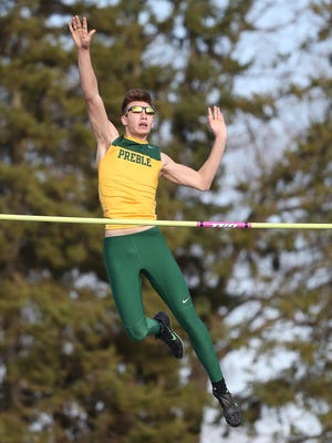 Green Bay Preble senior Lucas McCormick won the boys pole vault at the Green Bay City Meet last Thursday. McCormick leads the state this season with a clearance of 14 feet, 6 inches in the event.