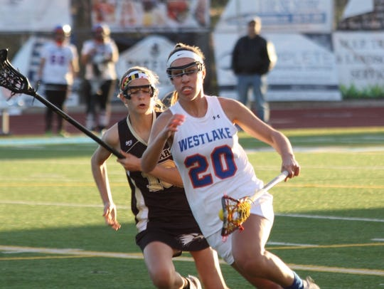 Midfielder Shelby Tilton (right) leads Westlake with 68 goals as a sophomore.