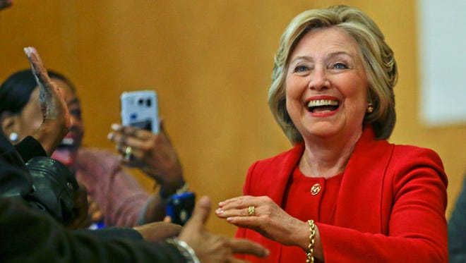 Democratic presidential candidate Hillary Clinton is greeted by supporters Wednesday, April 13, 2016, in the Bronx borough of New York. (AP Photo/Frank Franklin II)