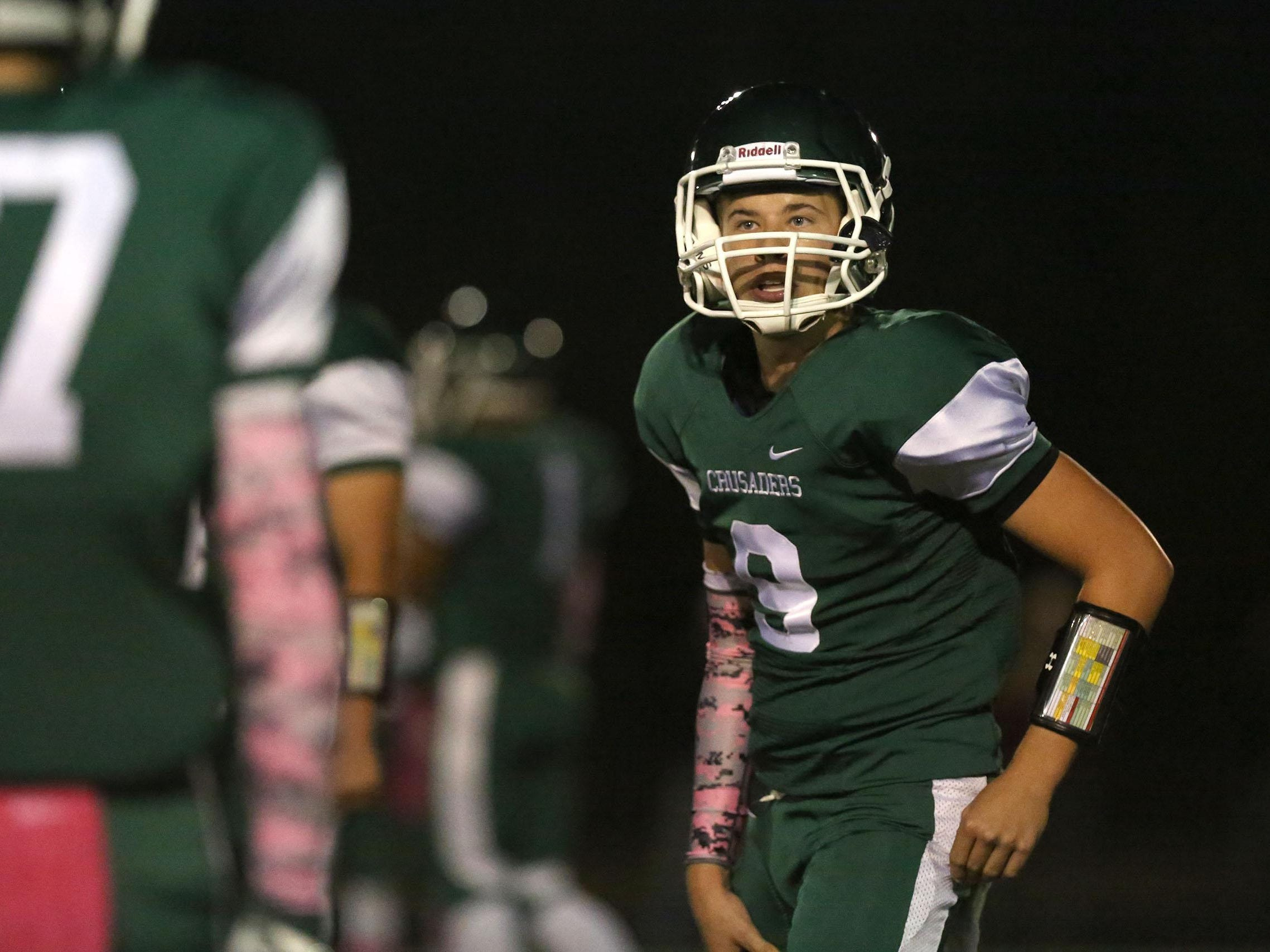 Salem Academy quarterback Andrew Baker during their game with Blanchet on Friday, Oct. 16, 2015, in Salem, Ore.