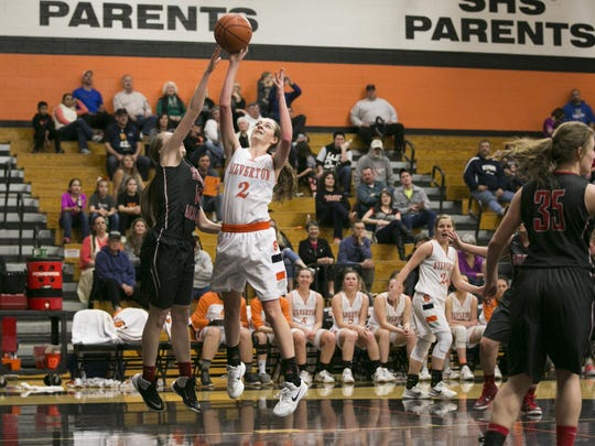 Silverton junior Stephanie Zitzelberger (2) goes up for a basket in a game against South Albany at Silverton High School on Friday, Feb. 12, 2016. The Silverton Foxes defeated South Albany 79-19.