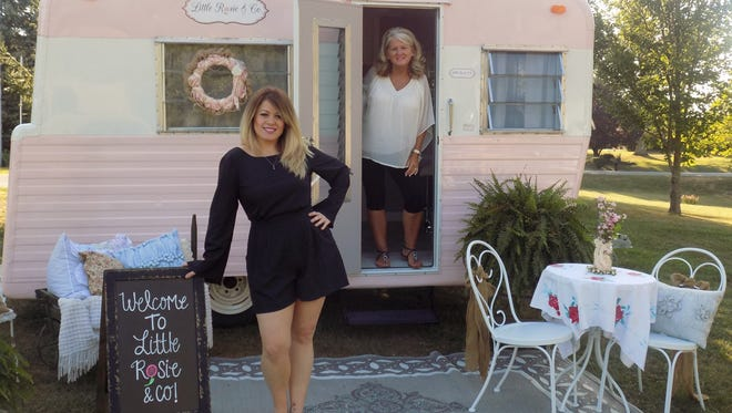 Amanda Cocanougher, left, brings beauty anywhere with her Little Rosie & Co. mobile salon. Her mother,  Sherry Thompson, helped renovate the 50-year-old camper along with her husband Sonny.