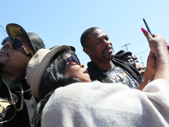 Fans grab selfies with comedian and actor Chris Tucker before the I Am A Man march to commemorate the 50th Anniversary of Martin Luther King Jr.'s assassination Wednesday, April 4, 2018, in Memphis, Tenn.