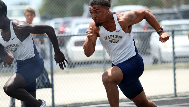 Athletes compete in the Class 3A District 12 meet at Palmetto Ridge High School on Friday April 13, 2018.