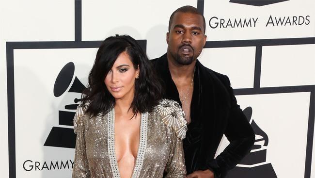 Kanye and Kim at the Grammys