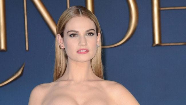 """Lily James at the London premiere of """"Cinderella."""""""
