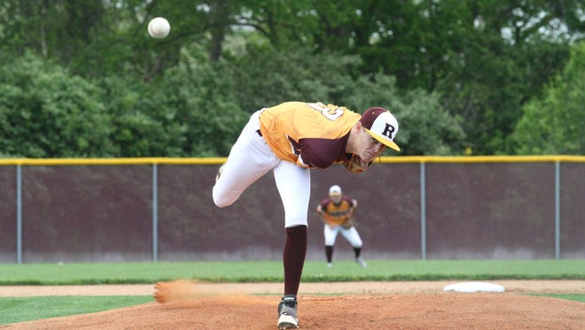 Thomas House, of Ross, delivers a pitch against Talawanda on May 1, 2017.