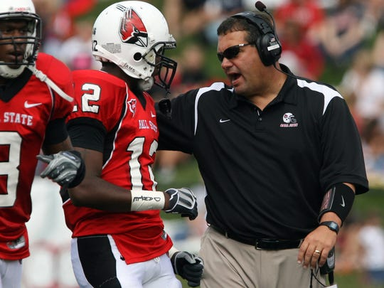 FILE -- Former Ball State coach Brady Hoke during his time with the Cardinals.