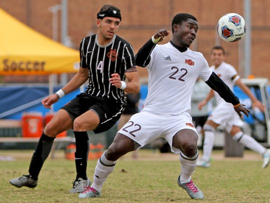 Midwestern State's Saad Acheampong focuses on the ball