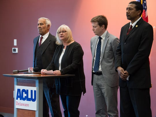 Kathleen MacRae, executive director of ACLU Delaware speaks during a press conference concerning their lawsuit challenging the state's allocation of resources to schools.