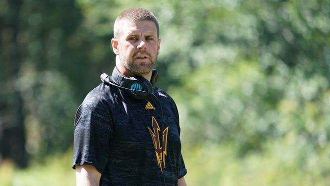 Arizona State offensive coordinator Billy Napier at Camp Tontozona on Wednesday, Aug. 2 , 2017 in Kohls Ranch, Ariz.
