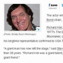 Screen grab of story on death of actor Richard Kiel.