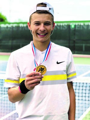 Brady High School sophomore Jack Marshall shows off his gold medal after winning the boys singles title at the Region I-3A Tennis Tournament. He will compete in the state tennis tournament in College Station next week after comping in the state track and field meet this week in Austin.