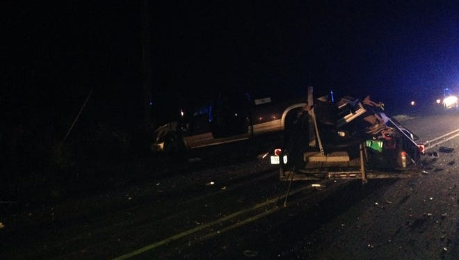 Two children were seriously injured Tuesday night when the driver of the car they were in crossed a center line and hit a pickup truck head on, according to the Natchitoches Parish Sheriff's Office.