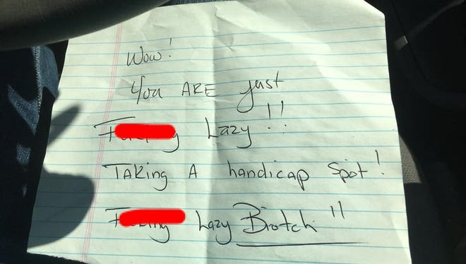 Emily Ingram Frye found this note on her car Tuesday after she parked in a handicapped spot at a southside Kroger. Frye has a heart condition and a handicapped placard.