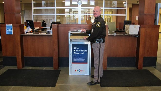 People can drop off their unwanted prescription pills in a receptacle at the St. Clair County Sheriff's Office.