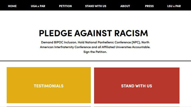 """A screen capture of the """"Pledge Against Racism"""" homepage"""