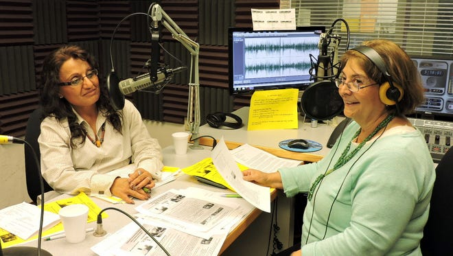 """At left, Norma Gomez, of the Columbus Chamber of Commerce, and Las Cruces Public Radio hostess, Emily Guerra, recorded a segment of """"Puentes"""" (""""Bridges"""") on Tuesday. In the short segment, Gomez describes the activities that are planned March 12, to commemorate the 100th anniversary of the Pancho Villa raid on Columbus, March 9, 1916. A memorial service hosted by the Columbus Historical Society will be held on the actual raid day, March 9. On March 12, the Chamber plans a full-fledged celebration on March 12. Pancho Villa State Park traditional will host Camp Furlong Day at the park. The segment will be aired as part of the Fronteras Series at 5:15 p.m. on Saturday.  It can also be streamed from the internet at KRWG.org.  Select the radio tab and Fronteras from the menu."""