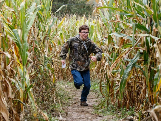 Ean Benson, 14, from the Town of Erin, races his father