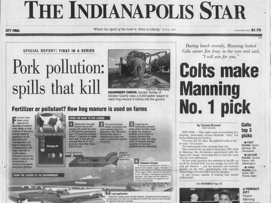 Twenty years ago today, the Colts drafted Peyton Manning. The news narrowly edged out killer pork pollution for the top story.