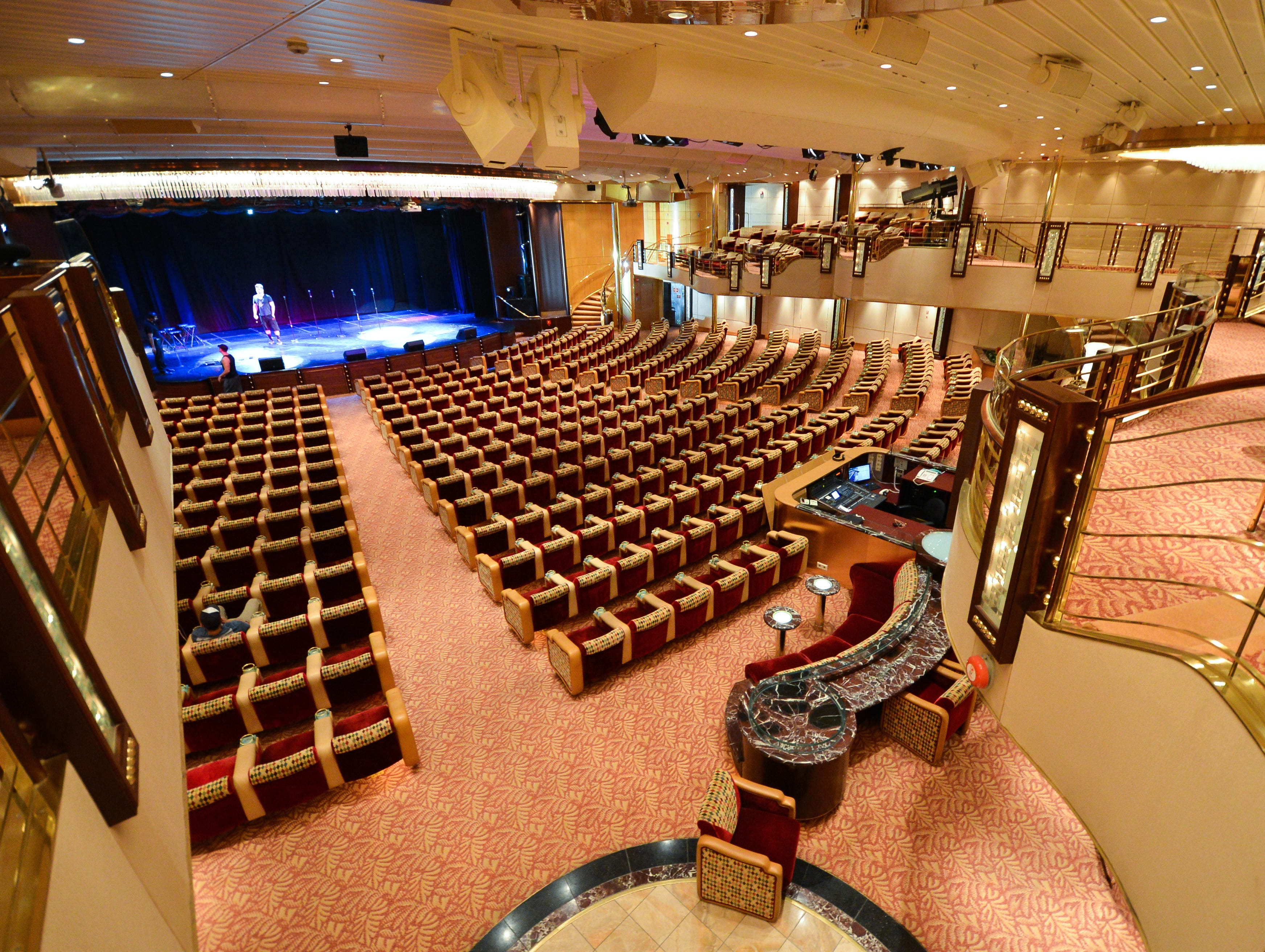 The largest entertainment venue on the ship is the 870-seat Palladium Theater, where Broadway-style shows, comedy acts, illusionists and other entertainment is offered nightly.