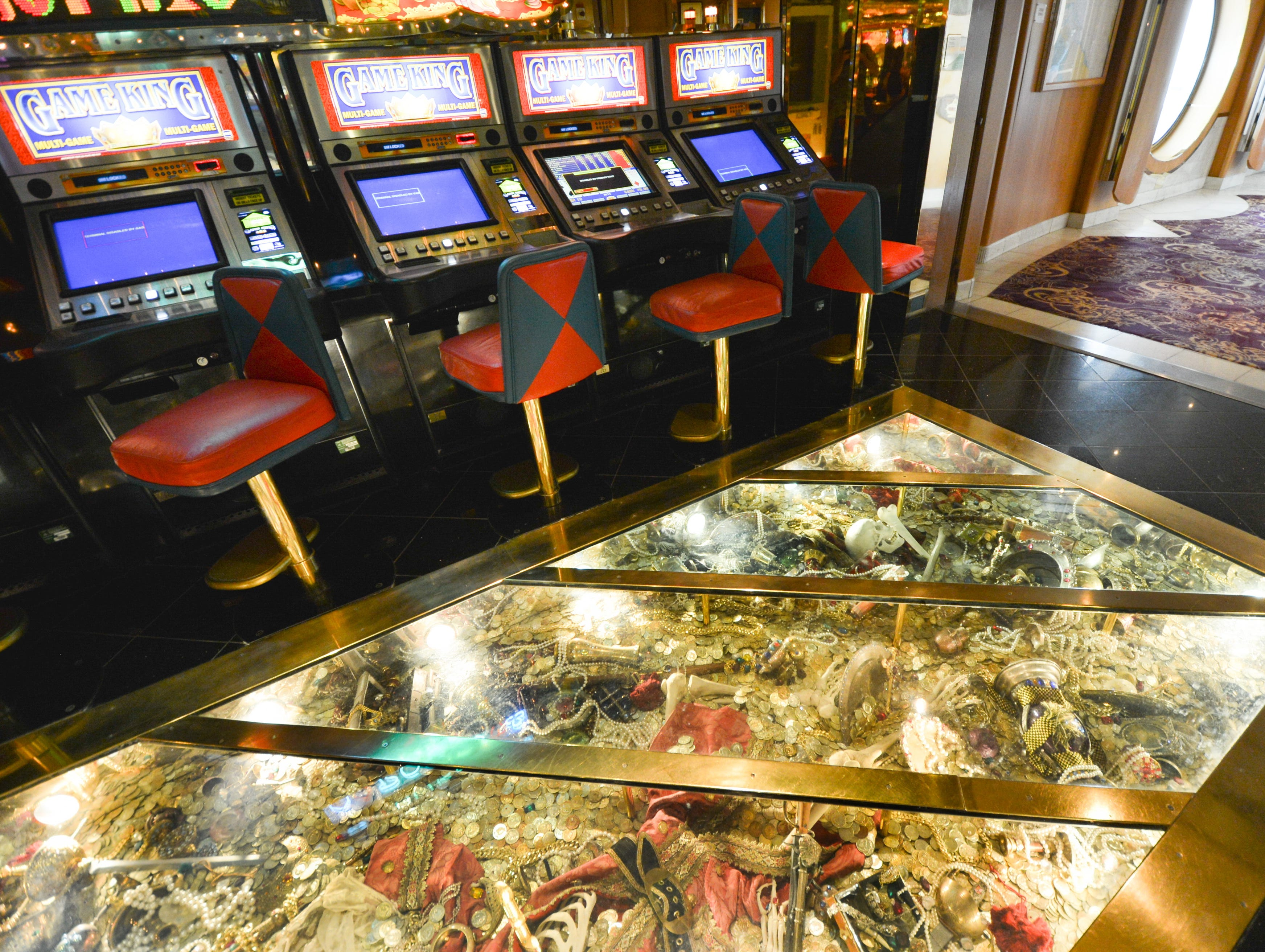 "A glass floor in the Casino Royale offers a view down to ""treasures."""
