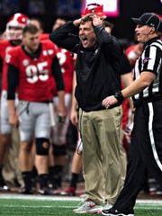 Georgia head coach Kirby Smart reacts to a penalty