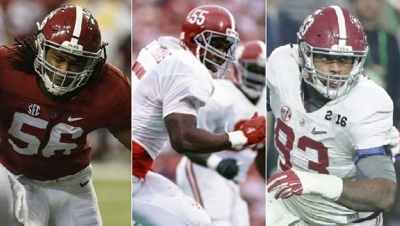 Tim Williams, left, and Jonathan Allen, right, are looking to break Alabama's single-season sack record of 27 set by the late great Derrick Thomas (center) in 1988.