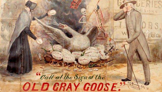 'Call at the Sign of the Old Gray Goose' is a painting by nationally known Quaker artist Marcus Mote, completed in 1875 after rambunctious local church women protested against alcohol sales. The painting, on display at the Wayne County Historical Museum, is a fiendish exaggeration of Englisman Alfred Tullidge's grocery - now the middle room at Little Sheba's on Fort Wayne Avenue - where beer at the time was sold by the bucket and jug.