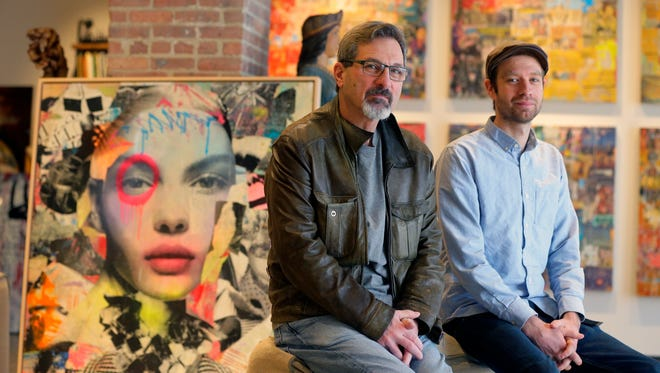 Ken Schwartz, founder, and Rune Egenes, registrar, showcase a few pieces of art at Detour Gallery in Red Bank, NJ Friday March 24, 2017.
