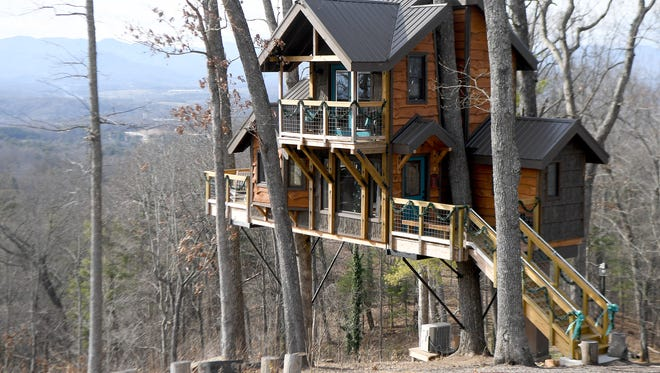 The Serenity Treehouse just north of Asheville is believed to be the only treehouse supported solely by trees with a certificate of occupancy in the area. It has one bedroom, a full bathroom and kitchen area.