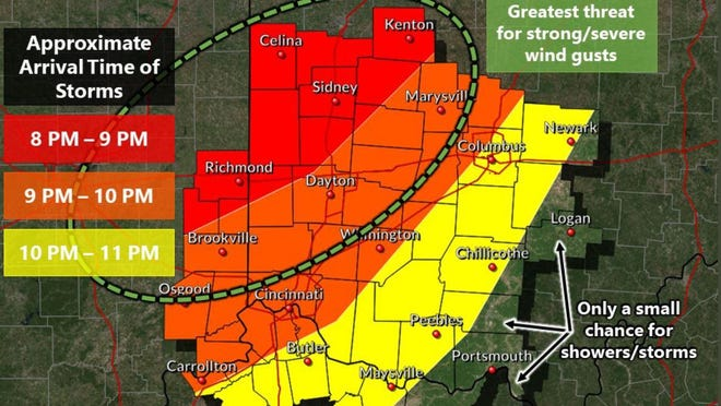 The National Weather Service in Wilmington has issued this graphic to show the arrival of the derecho in Ohio.