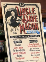 The annual Uncle Dave Macon Days Music and Arts Festival is set for Friday and Saturday at Cannonsburgh Pioneer Village, 312 S. Front St. in Murfreesboro.