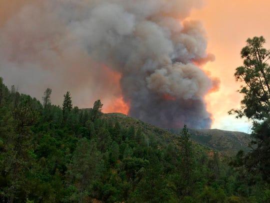 The Ferguson Fire burns near Yosemite National Park.