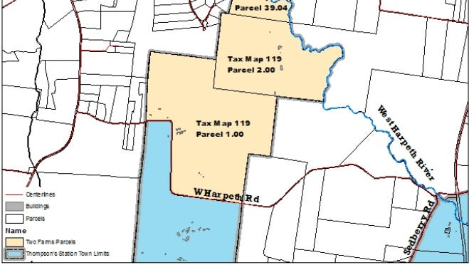 Vicinity map of the parcels that comprise the Two Farms proposed development
