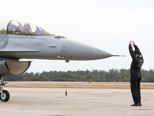 One of two Air Force F-16 Vipers is parked after landing