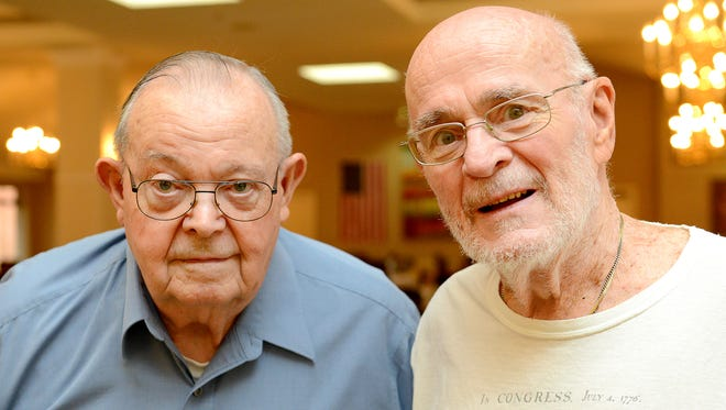 Paul Hodges, left, and Peter Latus enlisted in the military together in southwest Michigan. The pair was reconnected at Independence Village in East Lansing.