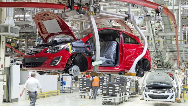General Motors is reducing production and workers' hours at this plant in Eisenach, Germany, and at another plant in Ruesselsheim as sales of its Corsa and Insignia models have fallen in the U.K. after voters voted to have the country leave the European Union.