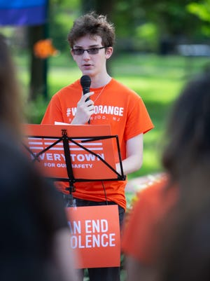 Laurence Fine, A Ridgewood HS student and member of Students Demand Action speaks to supporters during the  2nd Gun Violence Awareness Day in Ridgewood at Van Neste Square on Saturday, June 2 2018.