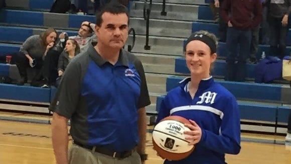 Madison girls basketball coach Jeff Loven and Brooke Vilcinskas.