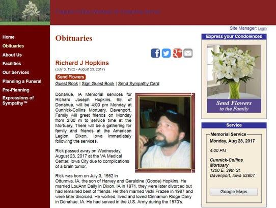 Online obituary for Richard J Hopkins.