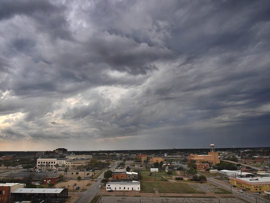 The skies darkened Monday afternoon as storms moved