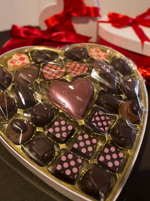 A Pizzazz Box of truffles and chocolates for Valentine's Day on display at Gayle's  Chocolates on Tuesday, Feb. 6, 2018 in Royal Oak.