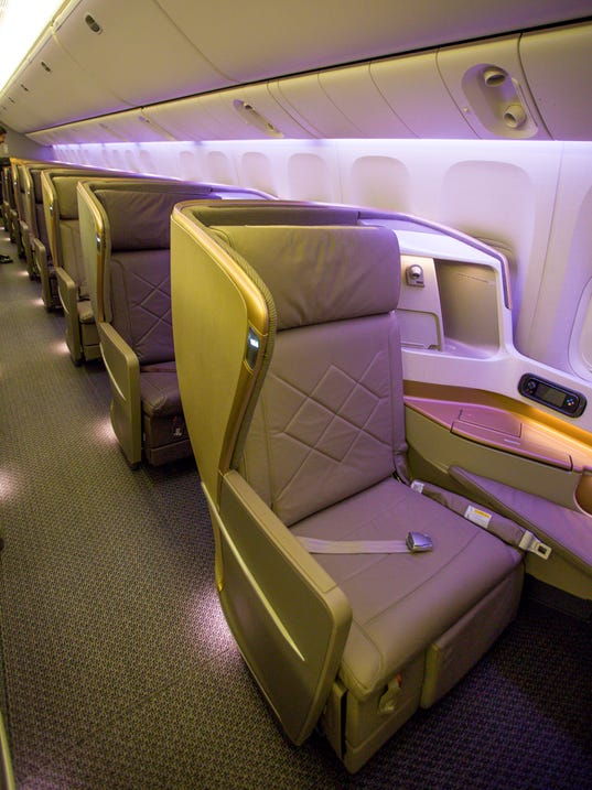 Business class seat in the first singapore airlines boeing 777 300er